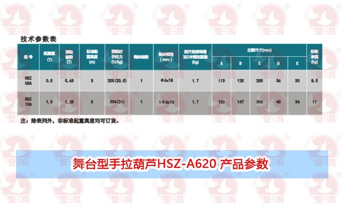 舞台型手拉葫芦HSZ-A620 产品参数